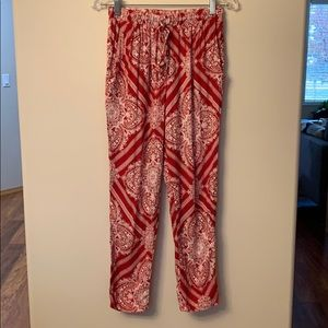 Red Boho Pants with Waist Tie